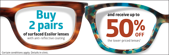 2 for 1, 2 pairs of glasses, optometrist, montreal, glasses on sale