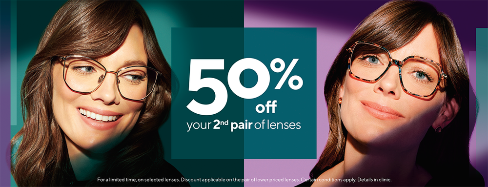 2 for 1 on  glasses, discount on 2nd pair of glasses